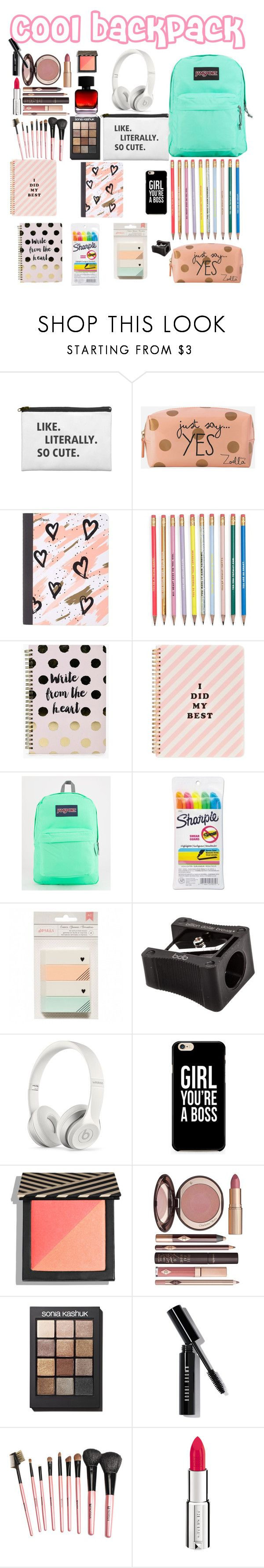 """What is in my backpack - cool backpack"" by littlestylistn ❤ liked on Polyvore featuring Zoella Beauty, Mead, Boohoo, ban.do, JanSport, Sharpie, Billion Dollar Brows, Beats by Dr. Dre, Charlotte Tilbury and Sonia Kashuk"