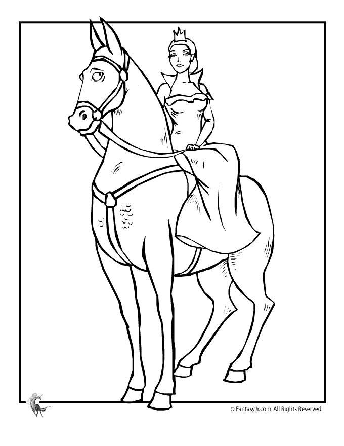 Princess horse and carriage the island for Princess horse coloring pages
