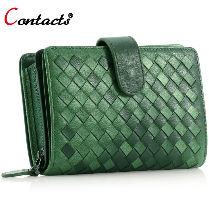 CONTACT'S Luxury Brand Kintting Genuine Leather Women Wallet Female Purse Small Card Holder Phone Clutch Phone Holders Money Bag