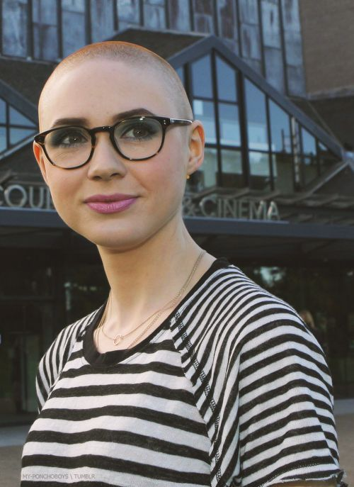Karen Gillan rocking the bald look for Guardians of the Galaxy.