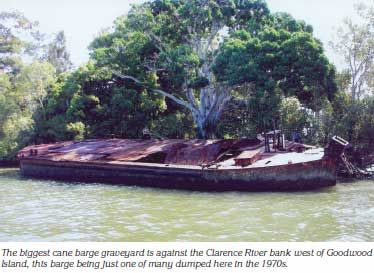 The biggest cane barge graveyard is against the Clarence River bank west of Goodwood Island, this barge being just one of many dumped here in the 1970s.