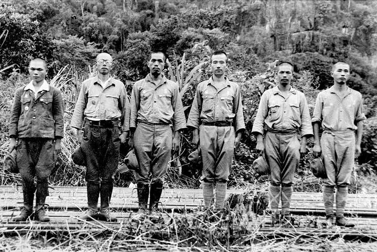 The Imperial Japanese Army expected rigid and unquestioning discipline from its soldiers. Here, six Japanese soldiers stand to attention for a photo taken by the Australian War Graves Commission survey party in October 1945. These men had been questioned over war crimes against POWs associated with the building of the infamous Thai-Burma railway.