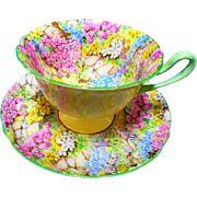 Shelley gainsborough rock garden chintz teacup duo