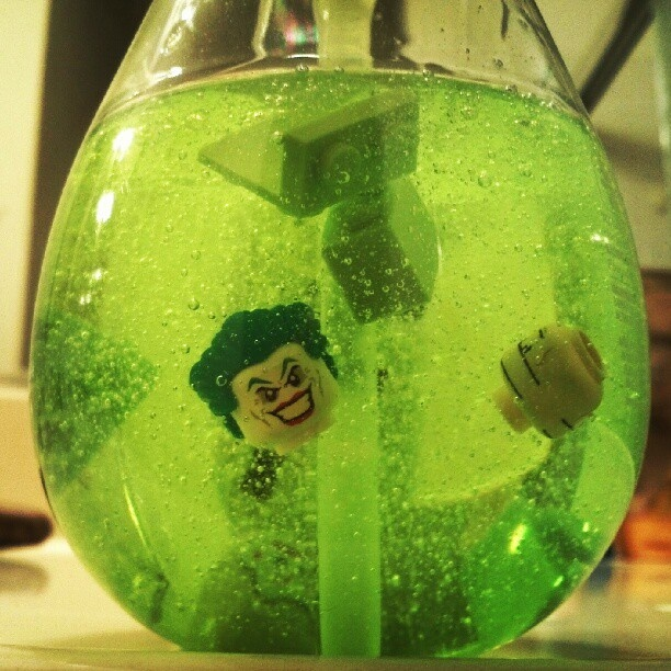 DIY Lego Hand Wash - I used Lego pieces from my JBird's Batman Set to give it a Joker look.
