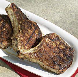 Bourbon-and-Vanilla-Brined Pork Chops via @Fine Cooking #bourbon #pork