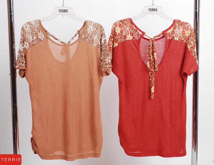 TERRIE WOMAN: BLOUSE WITH LACE  CODE NAME: PAPARS G5  COLOR: BROWN & RED  SIZE: FREE SIZE  PHP 820    www.terrieonline.com