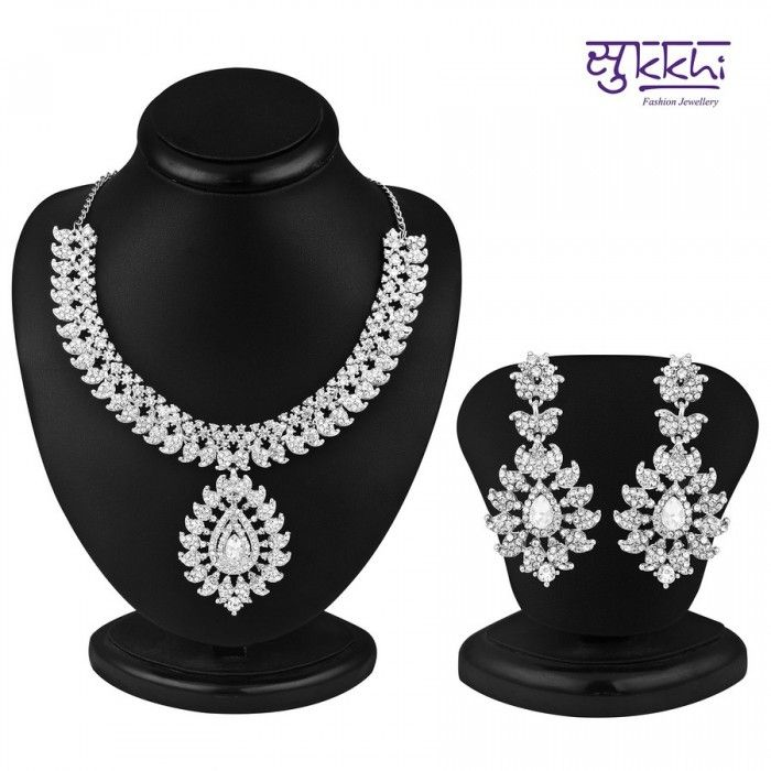 Incredible Rhodium Plated AD Stone Necklace Set | High5Store.com