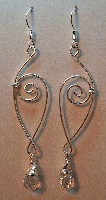 earrings: Wire Jewelry, Wire Wraps Earrings, Wire Earrings, Drop Earrings, Crystals Earrings, Wire Wrapped Earrings, Dangle Earrings, Jewelry Idea, Earrings Idea