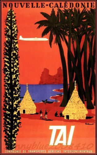 TAI Airline 1953 Vintage Poster Art Print Travel To New Caledonia Villemot Art