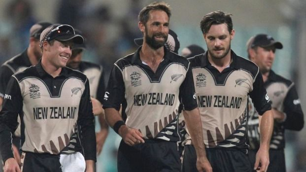 Black Caps players celebrate as they walk from the field having beaten Bangladesh by 75 runs.