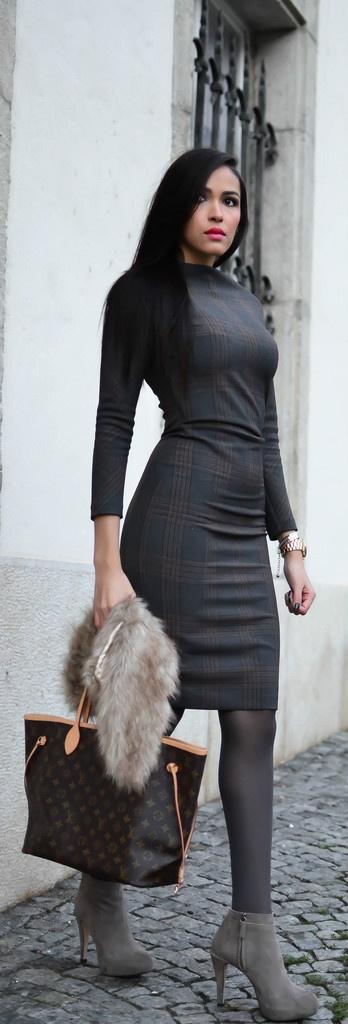 "DRESS/BOOTS : Zara,  BAG : Louis Vuitton,  SCARF : H & M,  LIPSTICK : ""Femme"" by Nyx."