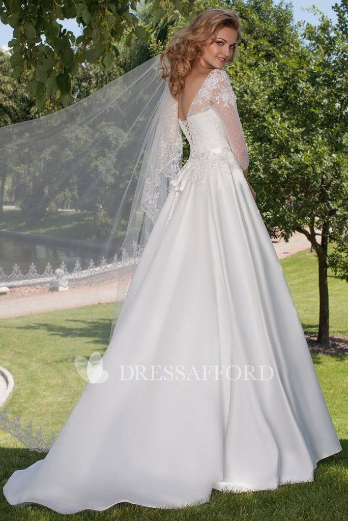 a1c7c85706792 Bateau 3-4-sleeve A-line Satin Wedding Dress With Illusion And Lace ...