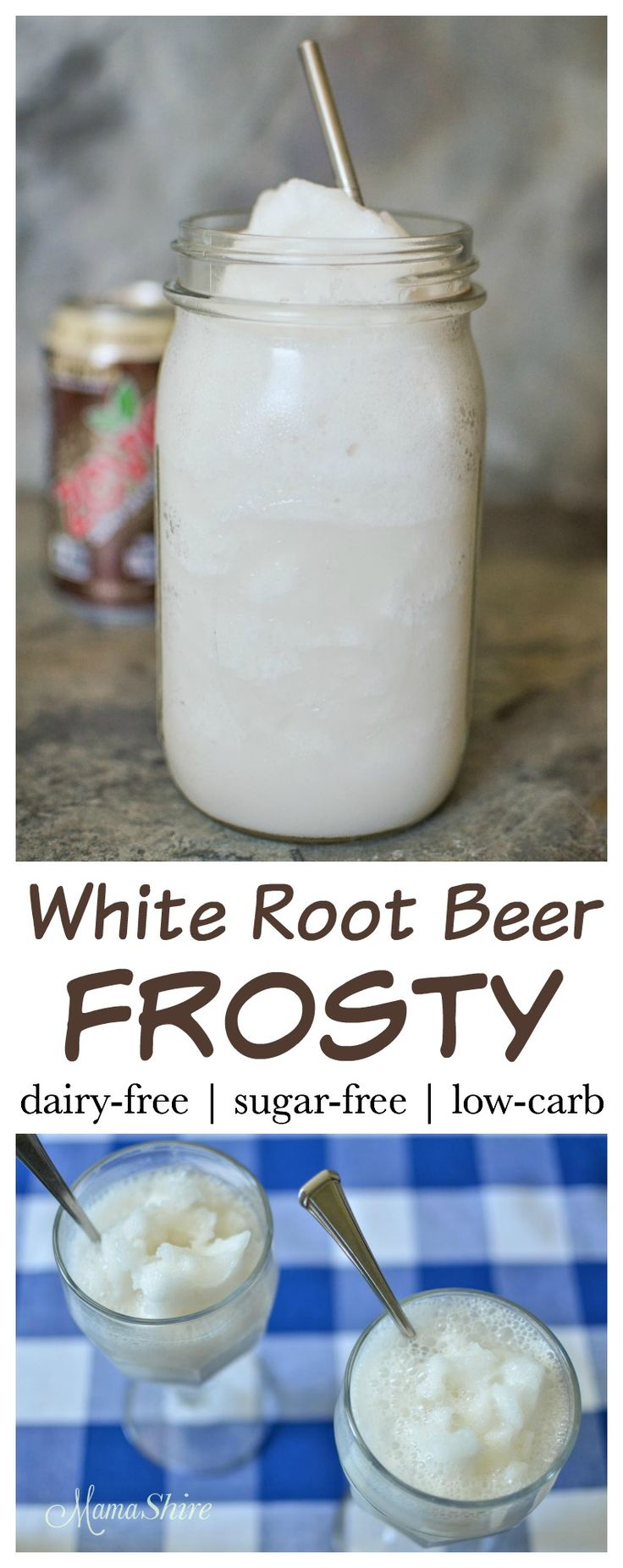 New twist on an old favorite - White Root Beer Frosty made dairy-free and sugar-free. Featuring Zevia Root Beer with no caramel coloring! THM - FP