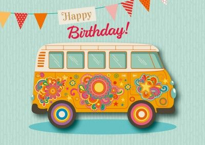 hippie auto happy birthday postkarte grusskarte Happy Birthday | MyPostcard Design Shop
