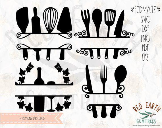 Kitchen Split Monogram Baking Wine Cooking Svg Eps Png Dxf