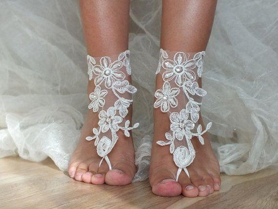 ivory Beach wedding barefoot sandals, floral barefoot sandals beach shoes nude shoes