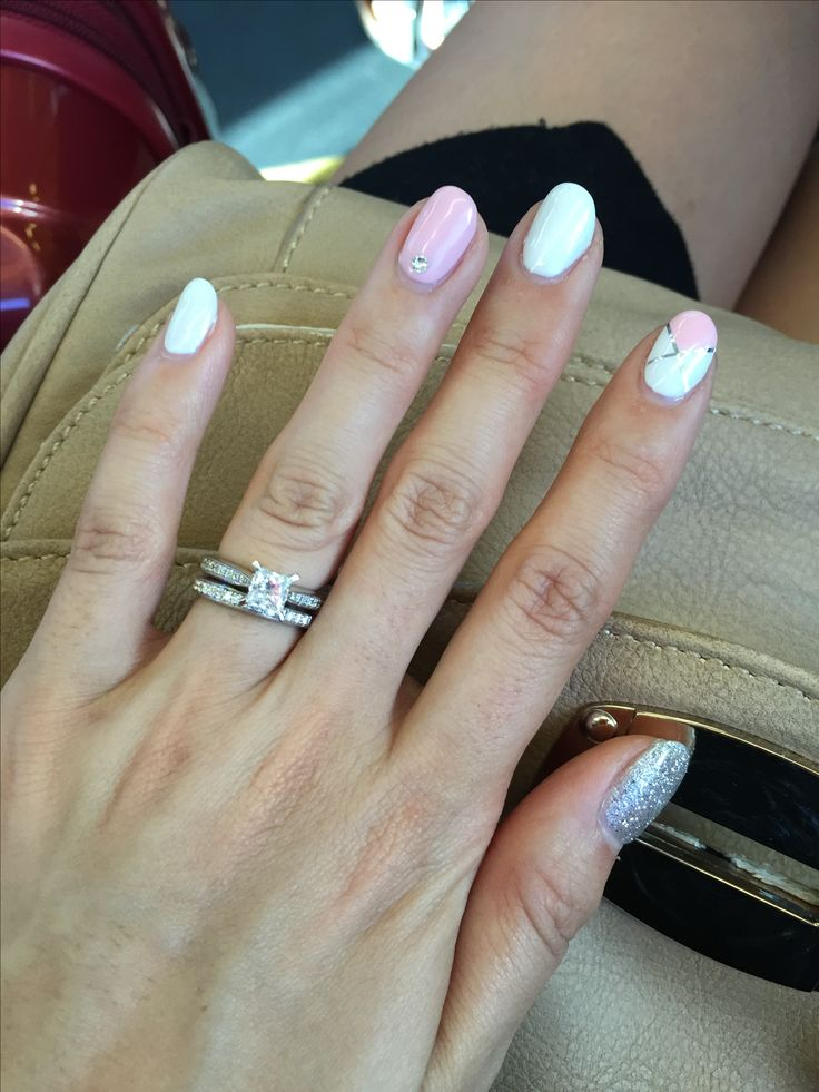 Baby pink white silver nail art design