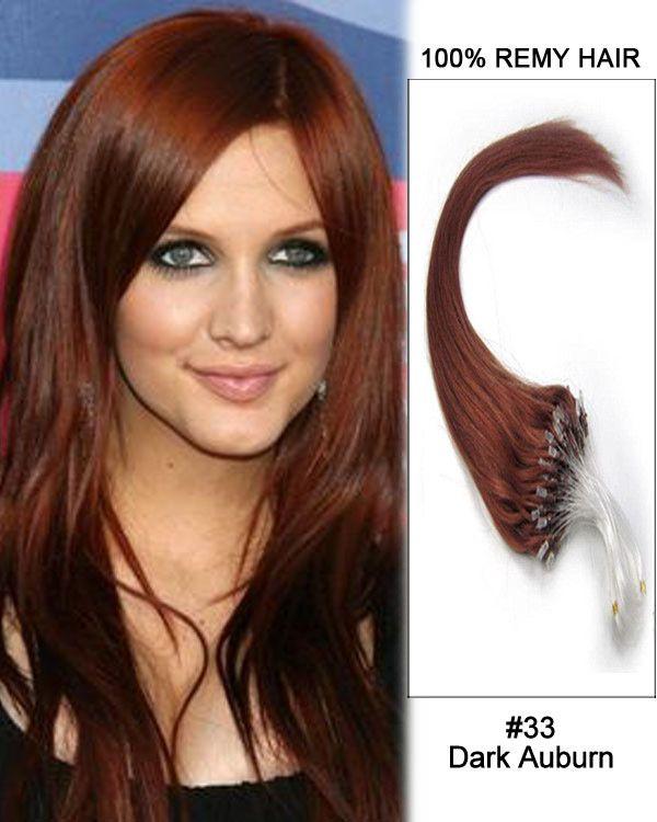 14 33 Dark Auburn Straight Micro Loop 100 Remy Hair Human Hair