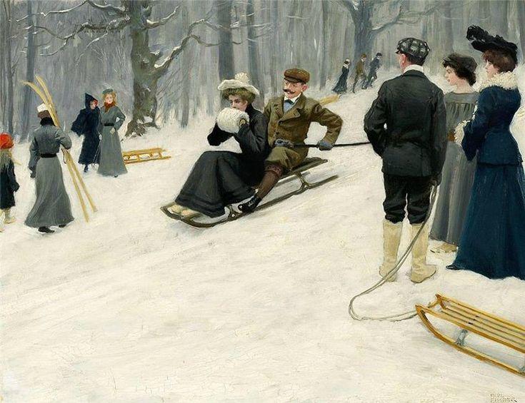 Paul Fischer - Snow sled ride in Søndermarken, Copenhagen: