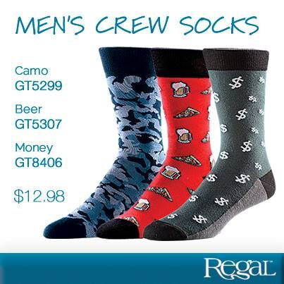 MEN'S CREW SOCKS  Great quality novelty socks will be a conversation starter at your next gathering. The cotton/nylon/elastane blend socks are absorbent, comfortable and a unique accessory. Shoe size: 7-12