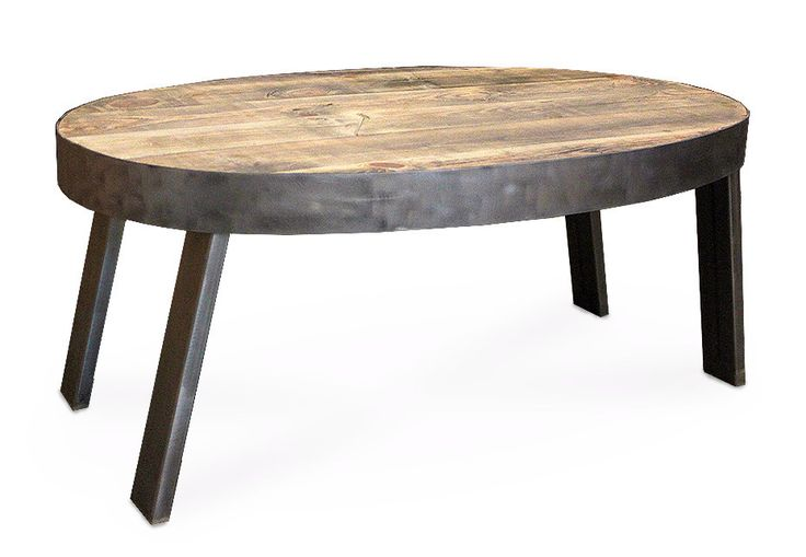 Oval Coffee Table, Reclaimed Wood, Industrial - Free Shipping