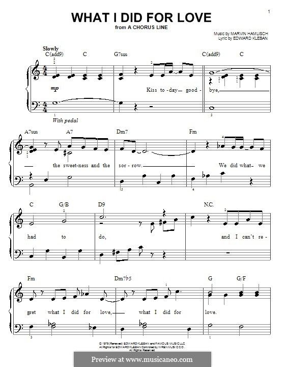 Priscilla Lopez: What I Did For Love (from A Chorus Line) - easy piano music score