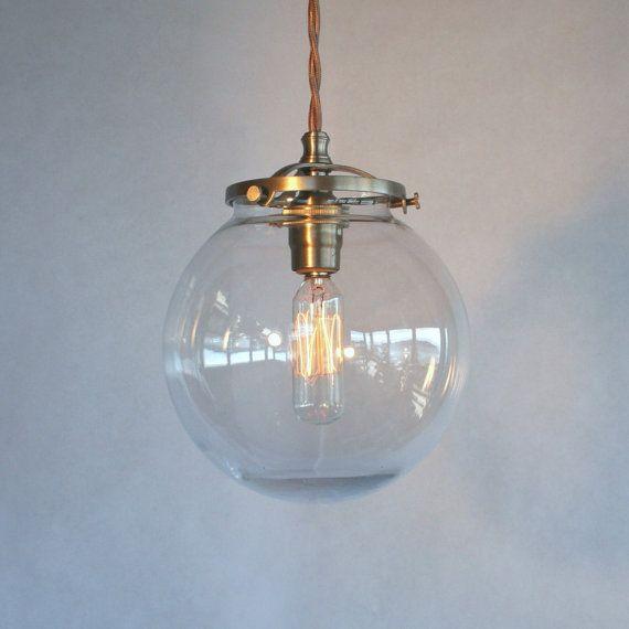 "Clear Globe Pendant Light - 6"" Globe Modern Vintage Pendant Light"