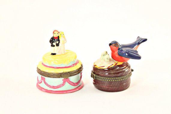 Miniature Ceramic Boxes, Hinged Miniature Ring Boxes, Vintage Hinged Ceramic Box, Hinged Mini Trinket Box, Miniature Hinged Gift Box #etsy #vintage #EtsyGifts