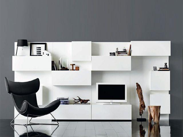 Επιπλοσύνθεση - Σύνθετο Μοντέρνο - Βιβλιοθήκη Δαπέδου VOLANI AA07 & ΑΑ11 του Δανέζικου Οίκου BO CONCEPT σε σχέδιο Morten Georgsen σε λευκή λάκα (#002079)