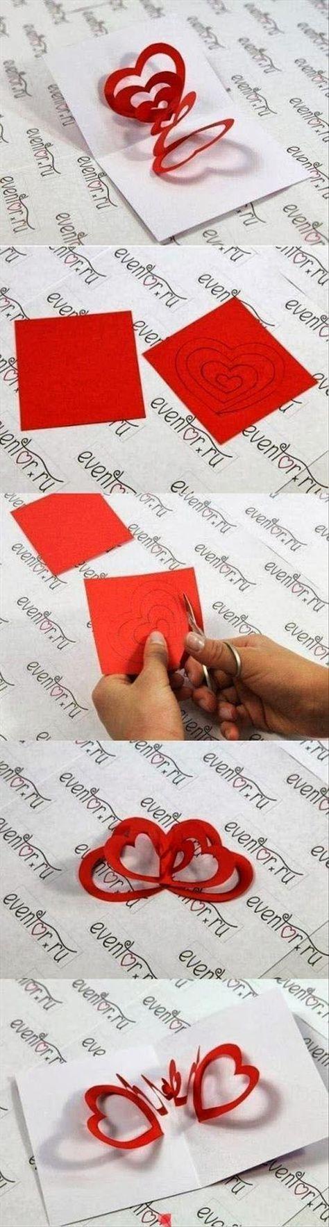 Anleitung für eine Karte mit fliegende Herzen zum Selbermachen (DIY, creative, crafts, idea, inspiration, kids, card) >> auf Fun Do It Yourself Craft Ideas – Cute Valentine's card idea