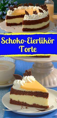 Herrlicher Schoko-Eierlikör-Kuchen mit Sahne – Schoko Käsekuchen – Color Photo…