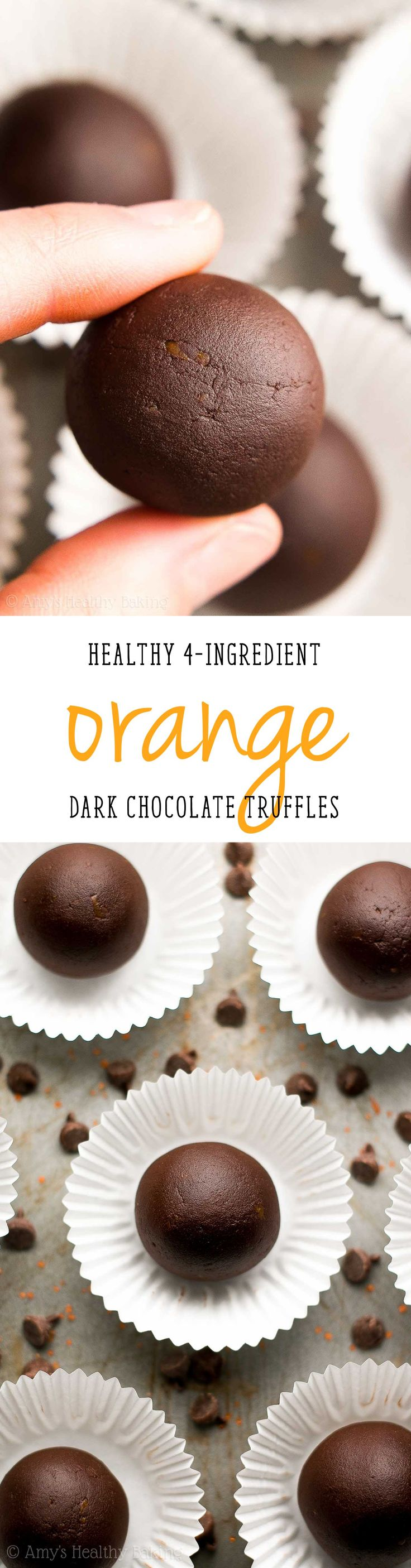 Healthy Dark Chocolate Orange Truffles -- only 4 ingredients & 21 calories! This easy recipe tastes so fancy, even with NO heavy cream or sugar! | easy dark chocolate truffles | homemade chocolate truffles recipe | easy healthy homemade candy