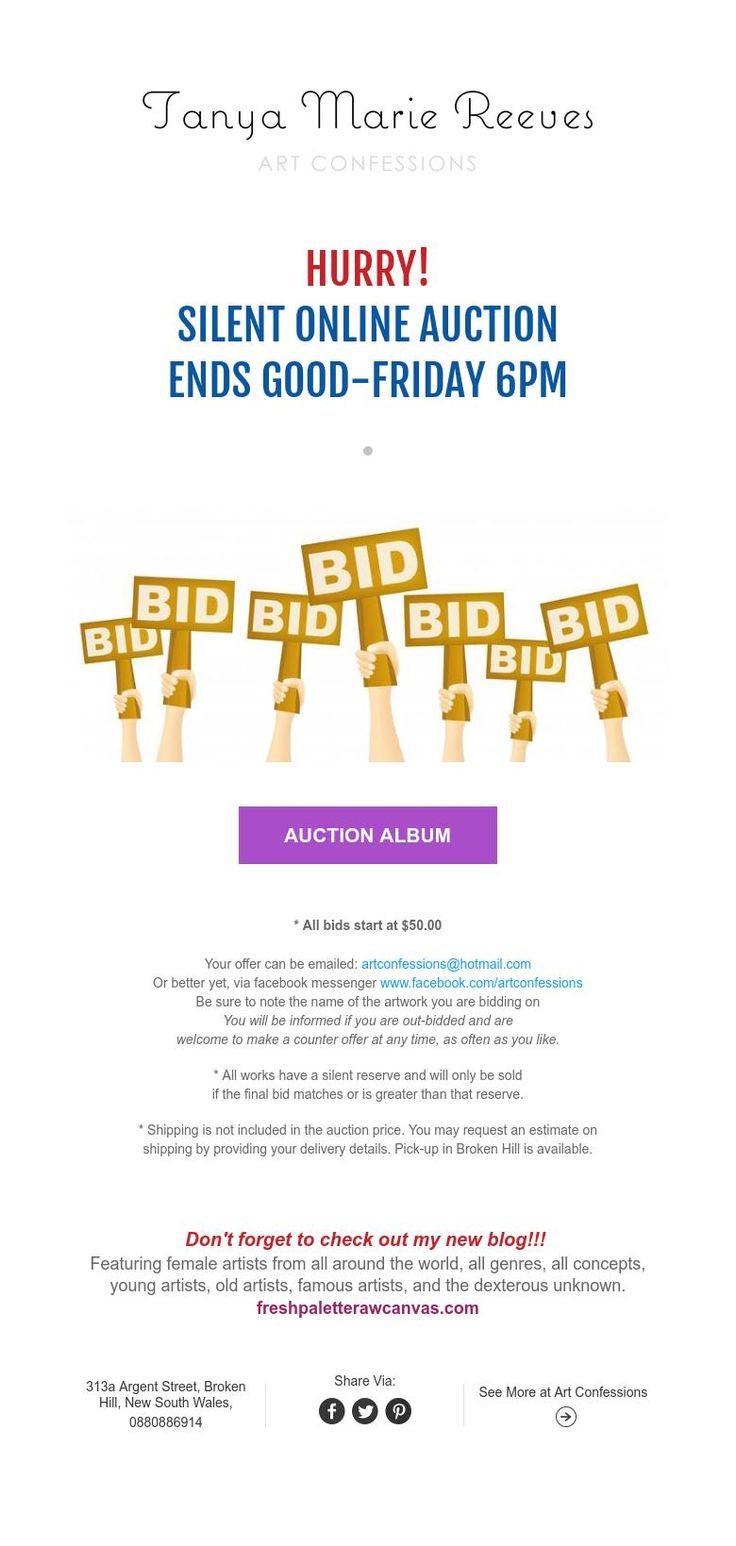 HURRY!  SILENT ONLINE AUCTION  ENDS GOOD-FRIDAY 6PM