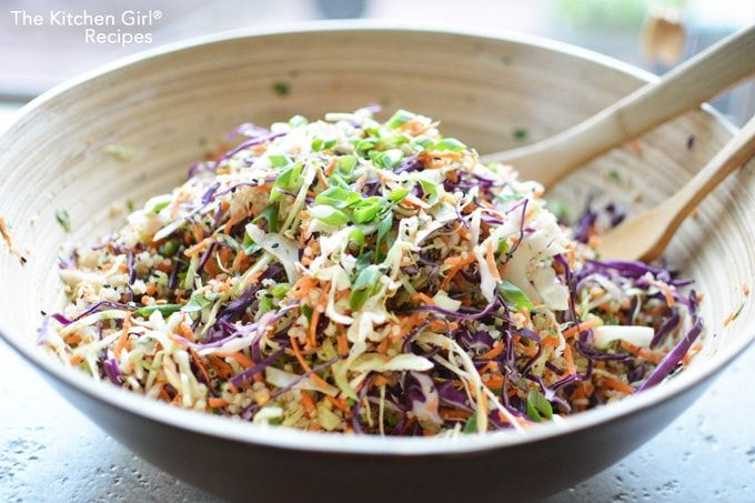 This easy Asian salad is loaded with fresh vegetables, quinoa, cashews, and sesame seeds, tossed in a Sesame Ginger dressing. Add chicken or pork for added protein.