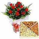 Shopping online red roses with assorted dry fruits for Hyderabad delivery. Fast home delivery to Hyderabad. See more dry fruits gifts : www.flowersgiftshyderabad.com/DryFruits-to-Hyderabad.php