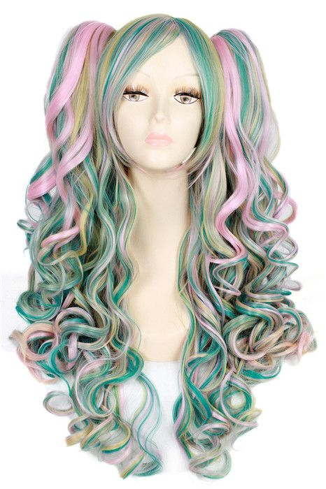65CM Lolita  wave cosplay wig multi color long clip-on ponytail hair