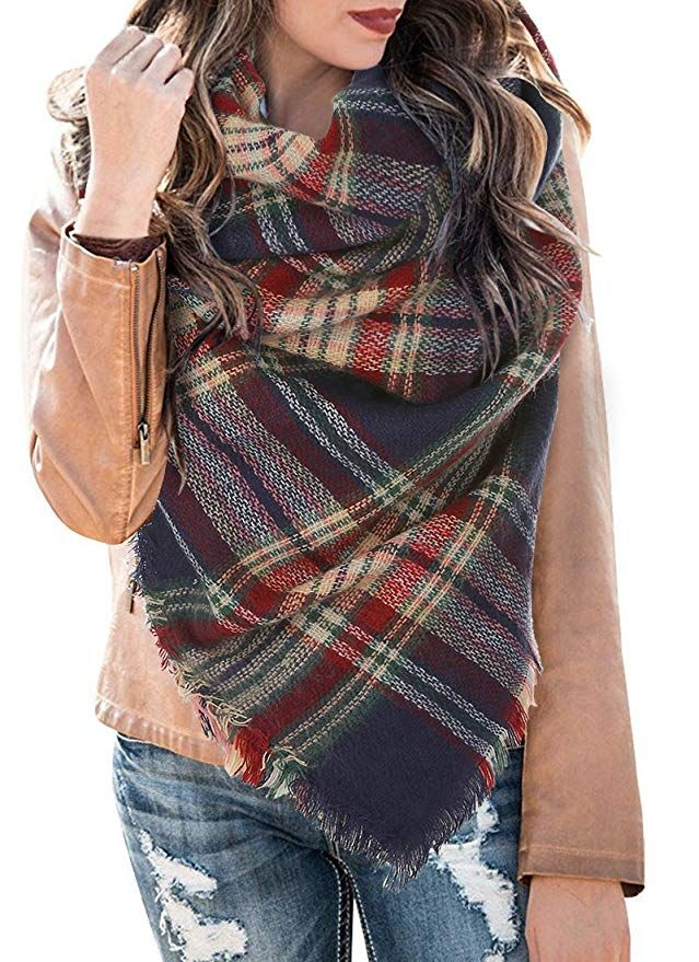 Brown Tartan Check Scarf Soft and Cosy Fleece Scarves with Tassles