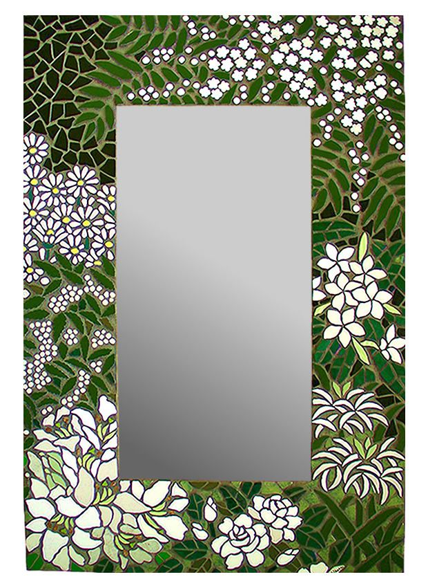 White Forest Mosaic Mirror