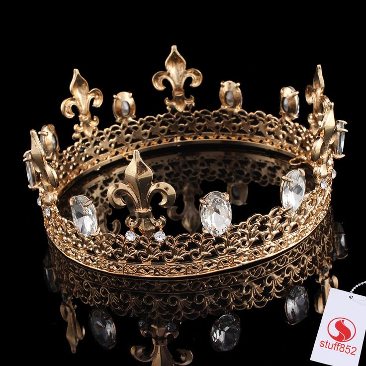 Gold Plated Crown Rhinestone Hair Tiaras Crystal Imperial Wedding Bridal Jewelry #Crown