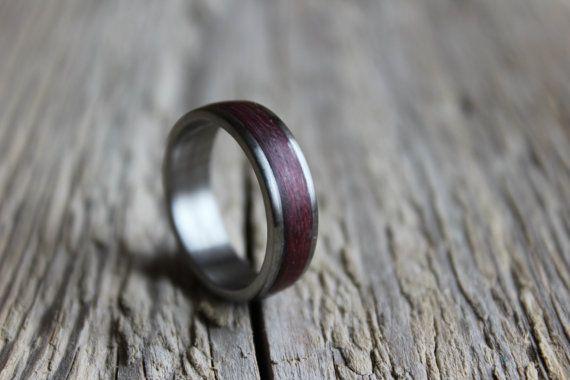 Titanium ring for men unisex titan ring with amaranth wood inlay