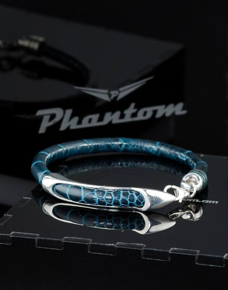 Blue Ostrich Leather Bracelet by Phantom.  #jewelry #leatherbracelet #phantom #ostrichbracelet #silver #handcrafted #beautiful #bracelet #fashion #ostrichleather #luxury #musthave #leather #billionaire #billionairesclub