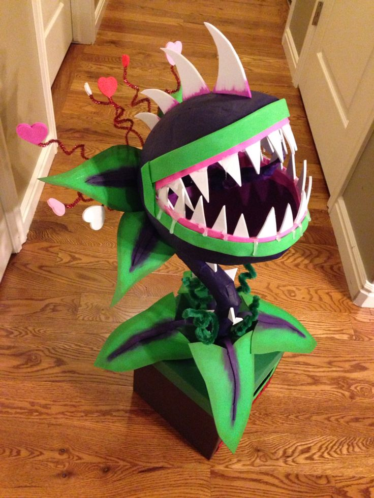 My son's Valentine's box this year.  Plants vs Zombies Chomper.