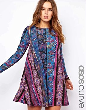 I would love this as a top. Too short for this girl. LOL -- ASOS CURVE Swing Dress in Paisley Stripe