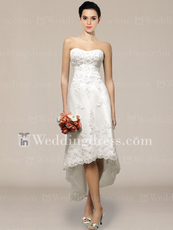 This dress is so gorgeous! I can imagine my boots with it. :P    Informal Strapless Short Wedding Dress BC014