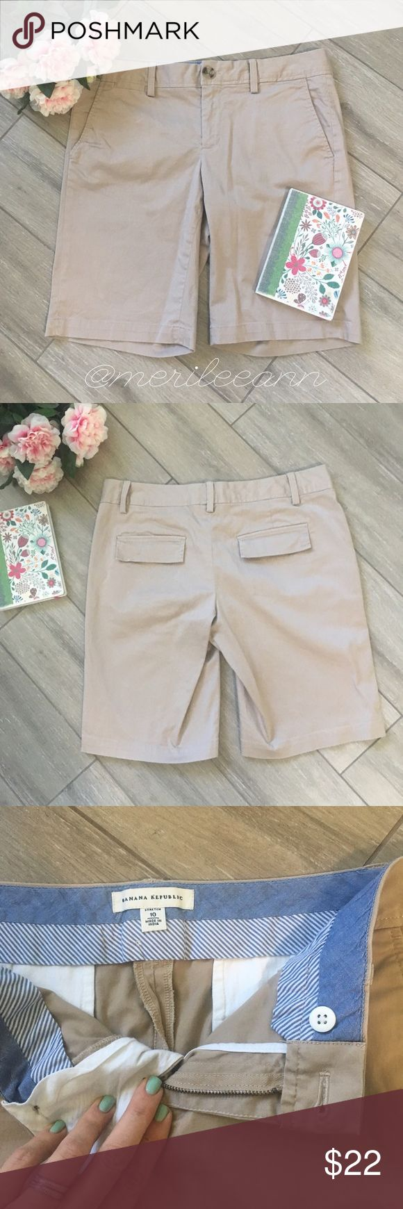 Banana Republic Bermuda Shorts These are BR's most popular Bermuda short. They have the perfect amount of stretch and they're so soft and comfy. Worn once. In pristine condition. Banana Republic Shorts Bermudas