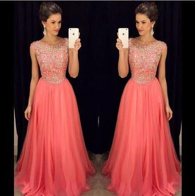 Long prom Dress,Coral prom Dress,Beaded Prom Dress,Charming prom dresses,evening dress,BD083
