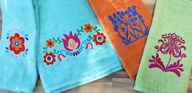 Fabrics embroidering on terrycloth towels free