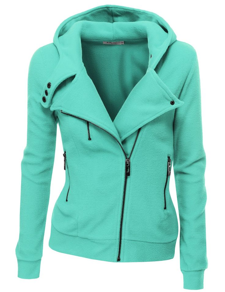 Amazon.com: Doublju Womens Zip-up Hood Jacket in Fine Stretch Cotton: Clothing | Mint