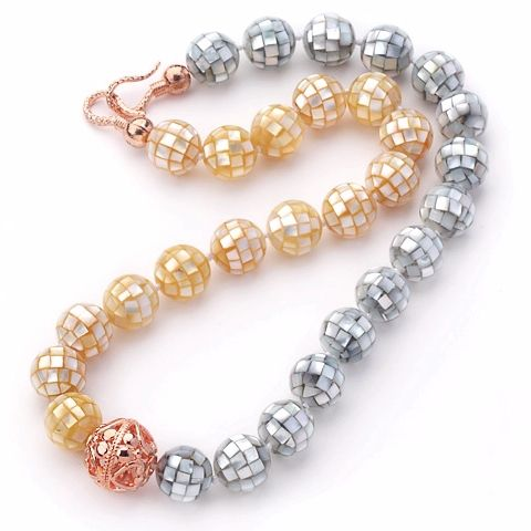 Find More Choker Necklaces Information about Gray and Yellow Color 14mm Round Mosaic Shell Beaded Knotted Necklace with Golden Rose Color Metal Ball,High Quality beaded curtain tie backs,China bead scarf necklace Suppliers, Cheap bead strand necklace from Lucky Fox Jewelry on Aliexpress.com