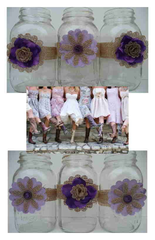 12 Mason Jar Purple Fabric Burlap Country Centerpiece Wedding Decorations